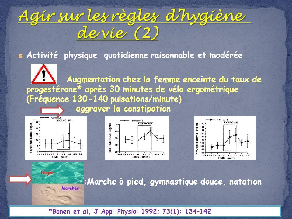 Activité physique quotidienne raisonnable et modérée Augmentation chez la femme enceinte du taux de progestérone* après 30 minutes de vélo ergométriqu