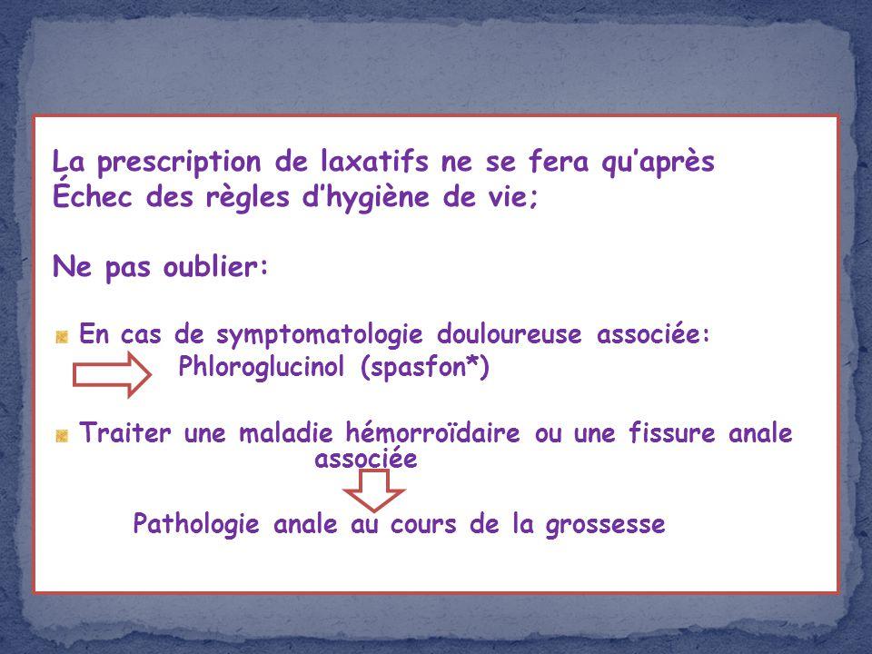 La prescription de laxatifs ne se fera quaprès Échec des règles dhygiène de vie; Ne pas oublier: En cas de symptomatologie douloureuse associée: Phlor