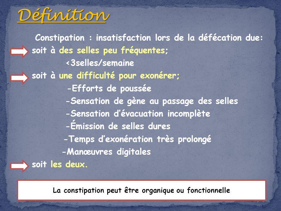 Constipation : insatisfaction lors de la défécation due: soit à des selles peu fréquentes; <3selles/semaine soit à une difficulté pour exonérer; -Effo