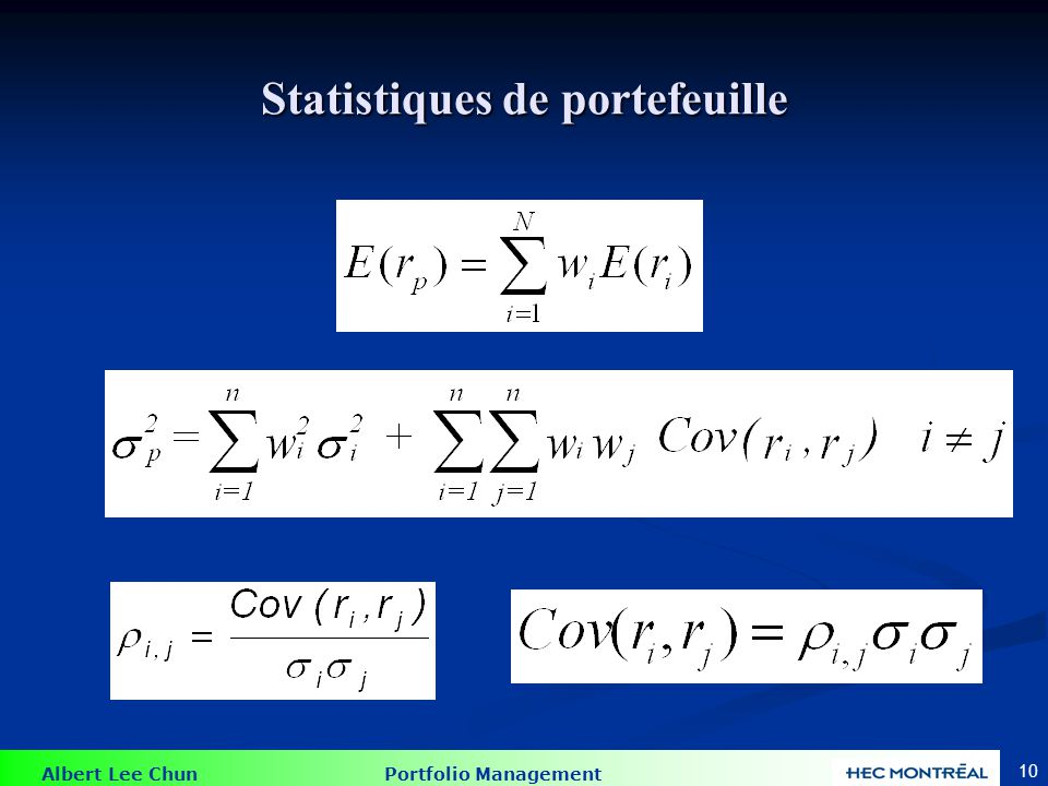 Albert Lee Chun Portfolio Management 10 Statistiques de portefeuille