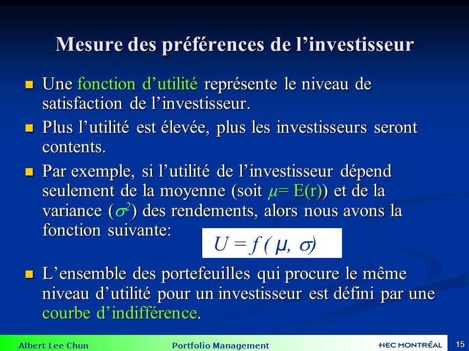 Albert Lee Chun Portfolio Management 15 Mesure des préférences de linvestisseur Une fonction dutilité représente le niveau de satisfaction de linvestisseur.