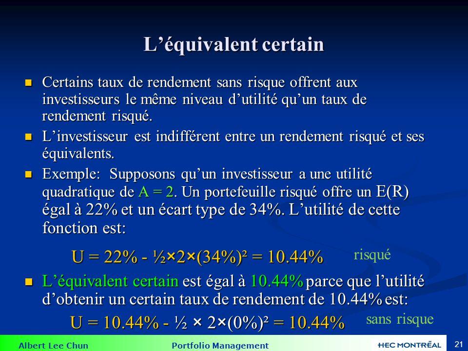 Albert Lee Chun Portfolio Management 21 Léquivalent certain Certains taux de rendement sans risque offrent aux investisseurs le même niveau dutilité quun taux de rendement risqué.