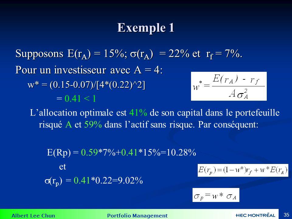 Albert Lee Chun Portfolio Management 35 Exemple 1 Supposons E(r A ) = 15%; (r A ) = 22% et r f = 7%. Pour un investisseur avec A = 4: w* = (0.15-0.07)