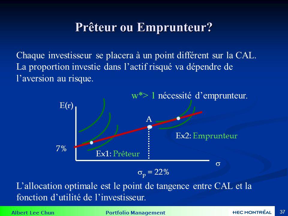 Albert Lee Chun Portfolio Management 37 Prêteur ou Emprunteur? A E(r) 7% Ex1: Prêteur Ex2: Emprunteur p = 22% Chaque investisseur se placera à un poin