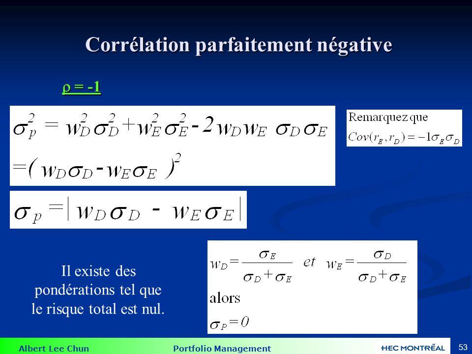 Albert Lee Chun Portfolio Management 53 Corrélation parfaitement négative Corrélation parfaitement négative = -1 = -1 Il existe des pondérations tel que le risque total est nul.
