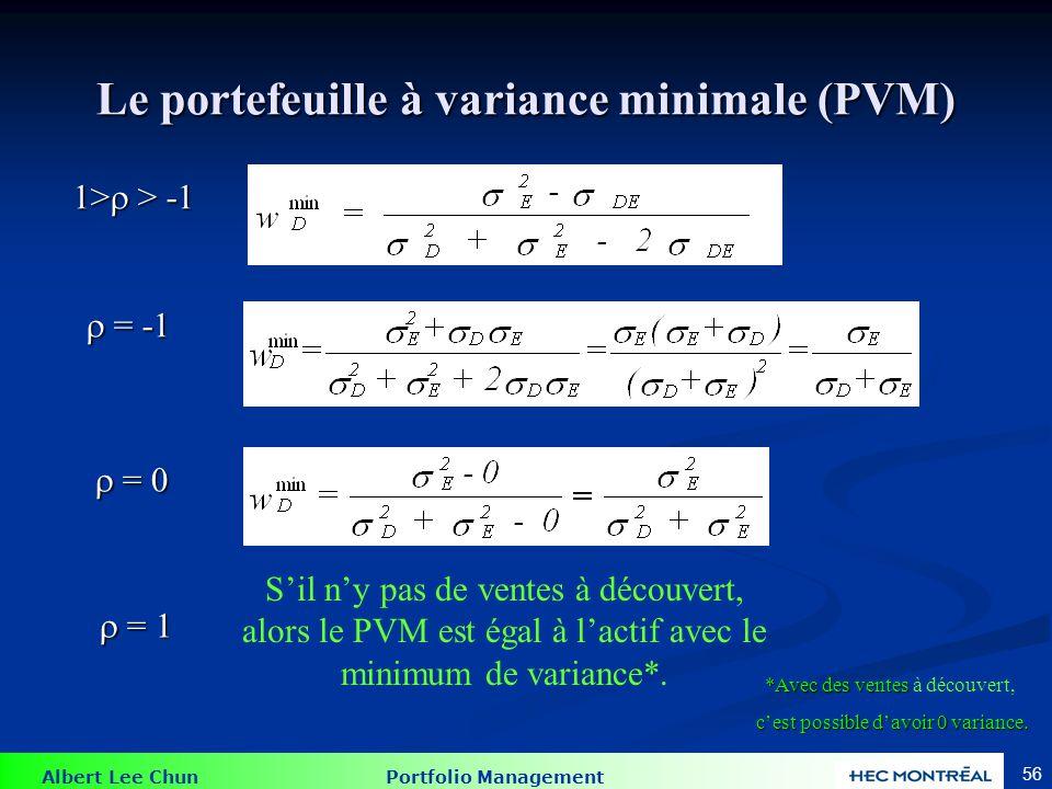 Albert Lee Chun Portfolio Management 56 Le portefeuille à variance minimale (PVM) 1> > -1 = -1 = -1 = 0 = 0 = 1 = 1 Sil ny pas de ventes à découvert, alors le PVM est égal à lactif avec le minimum de variance*.