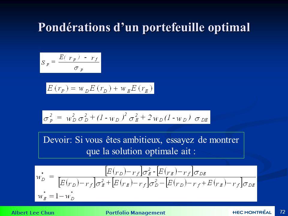 Albert Lee Chun Portfolio Management 72 Pondérations dun portefeuille optimal Devoir: Si vous êtes ambitieux, essayez de montrer que la solution optimale ait :