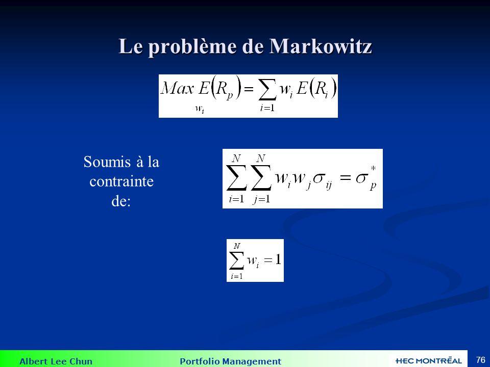 Albert Lee Chun Portfolio Management 76 Le problème de Markowitz Soumis à la contrainte de: