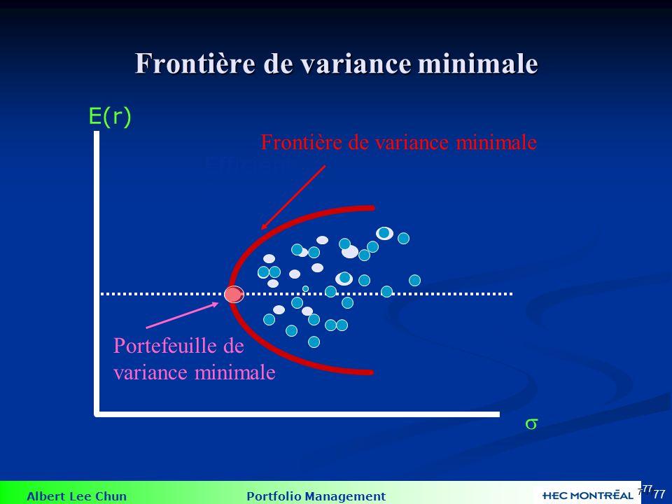 Albert Lee Chun Portfolio Management 77 E(r) Efficient frontier Frontière de variance minimale 7-77 Frontière de variance minimale Portefeuille de variance minimale