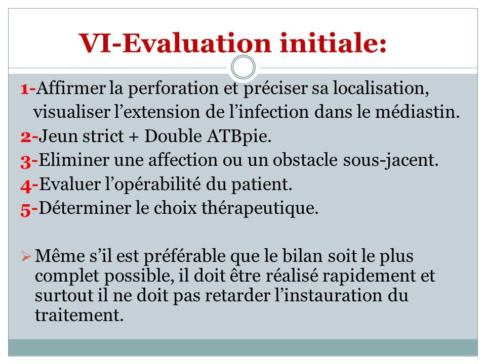 VI-Evaluation initiale: 1-Affirmer la perforation et préciser sa localisation, visualiser lextension de linfection dans le médiastin. 2-Jeun strict +