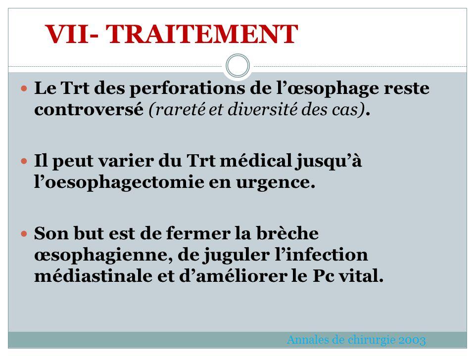 Le Trt des perforations de lœsophage reste controversé (rareté et diversité des cas). Il peut varier du Trt médical jusquà loesophagectomie en urgence