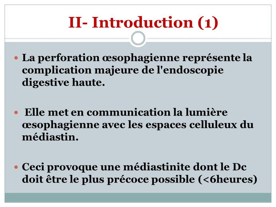 II- Introduction (1) La perforation œsophagienne représente la complication majeure de l'endoscopie digestive haute. Elle met en communication la lumi