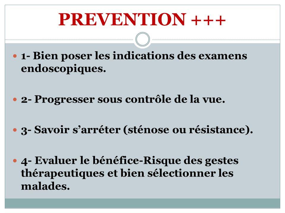 PREVENTION +++ 1- Bien poser les indications des examens endoscopiques. 2- Progresser sous contrôle de la vue. 3- Savoir sarréter (sténose ou résistan