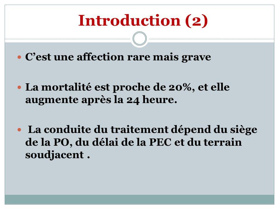 Introduction (2) Cest une affection rare mais grave La mortalité est proche de 20%, et elle augmente après la 24 heure.