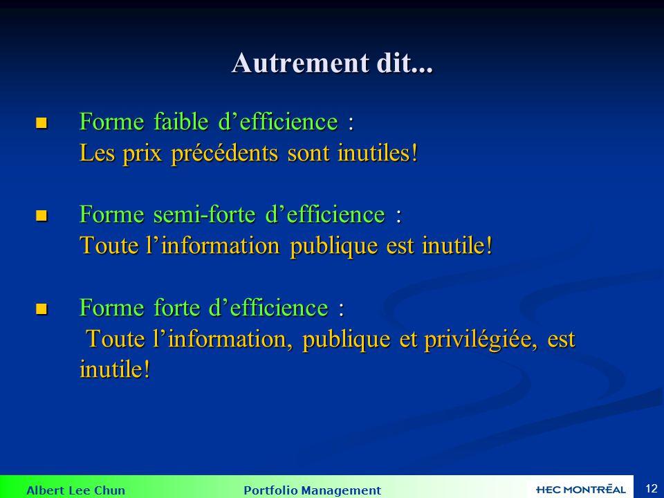 Albert Lee Chun Portfolio Management 12 Autrement dit... Forme faible defficience : Forme faible defficience : Les prix précédents sont inutiles! Form