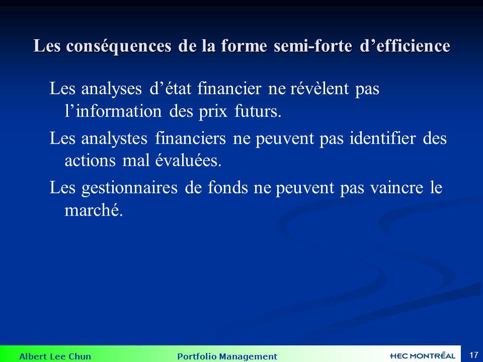 Albert Lee Chun Portfolio Management 17 Les conséquences de la forme semi-forte defficience Les analyses détat financier ne révèlent pas linformation