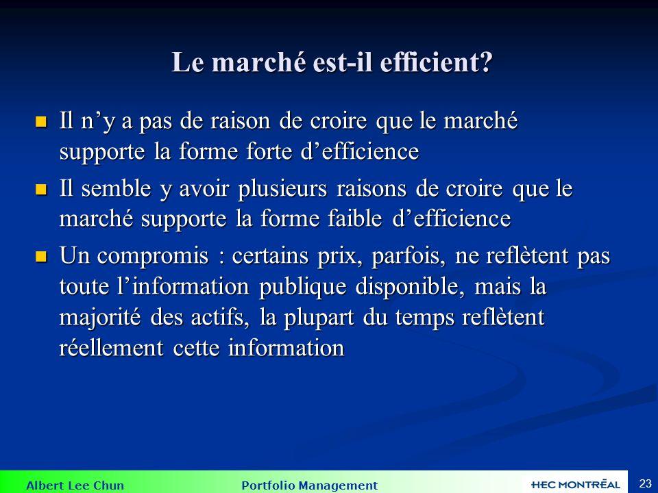 Albert Lee Chun Portfolio Management 23 Le marché est-il efficient? Le marché est-il efficient? Il ny a pas de raison de croire que le marché supporte
