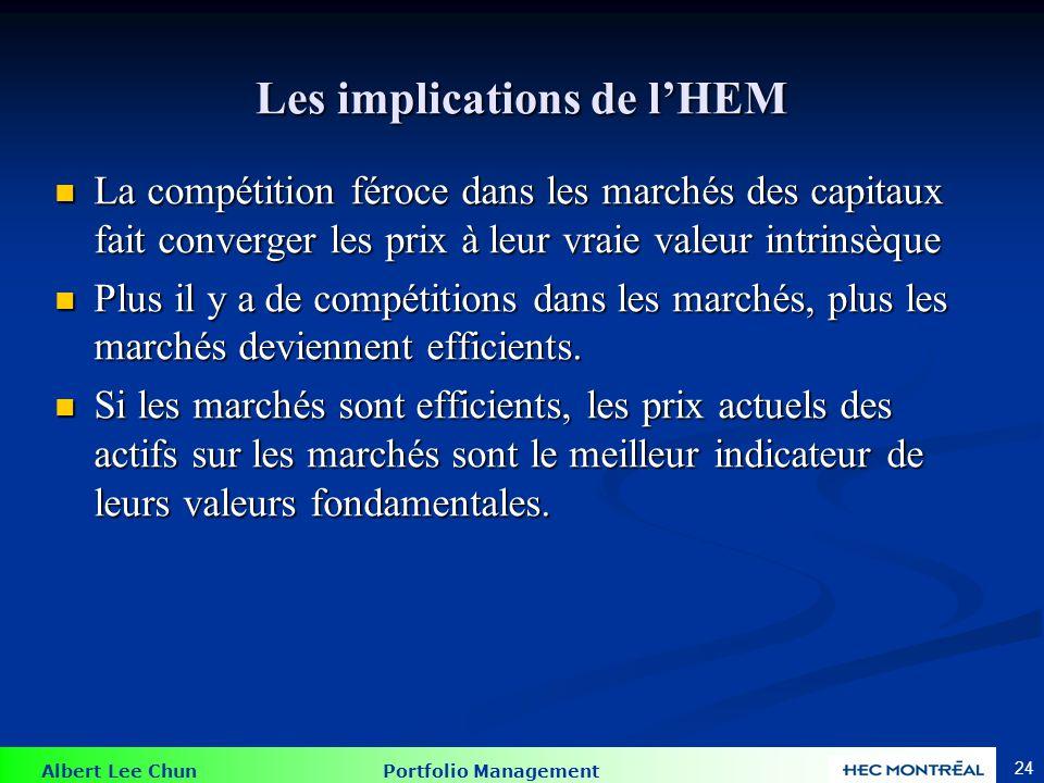 Albert Lee Chun Portfolio Management 24 Les implications de lHEM La compétition féroce dans les marchés des capitaux fait converger les prix à leur vr
