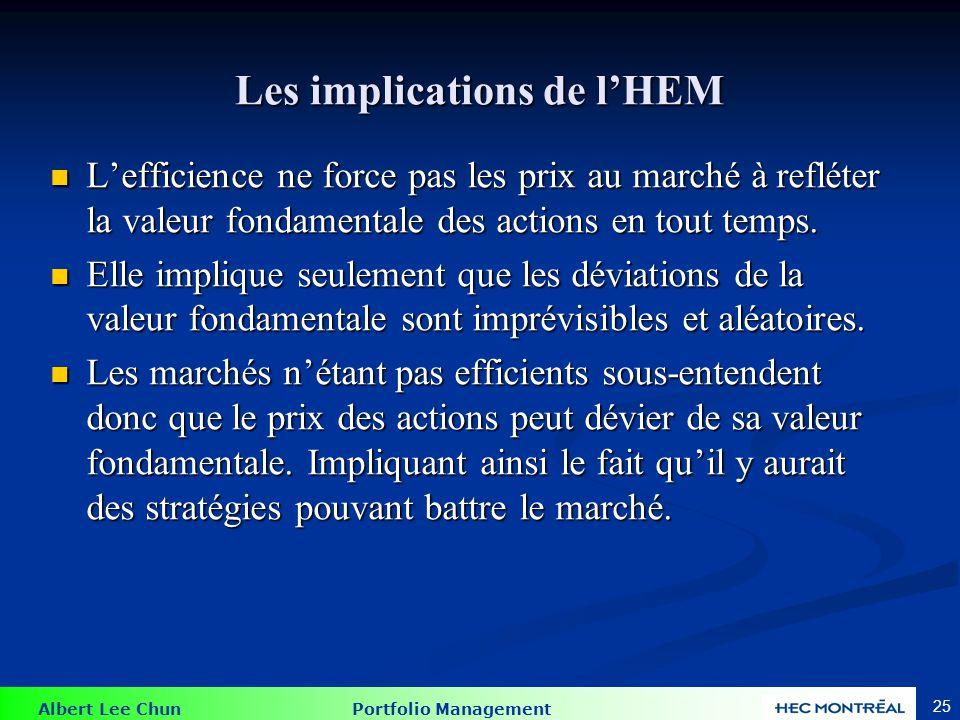 Albert Lee Chun Portfolio Management 25 Les implications de lHEM Lefficience ne force pas les prix au marché à refléter la valeur fondamentale des act