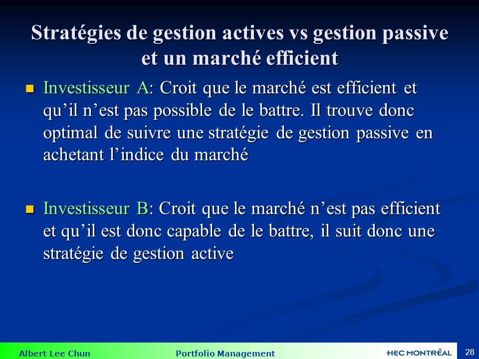Albert Lee Chun Portfolio Management 28 Stratégies de gestion actives vs gestion passive et un marché efficient Investisseur A: Croit que le marché es