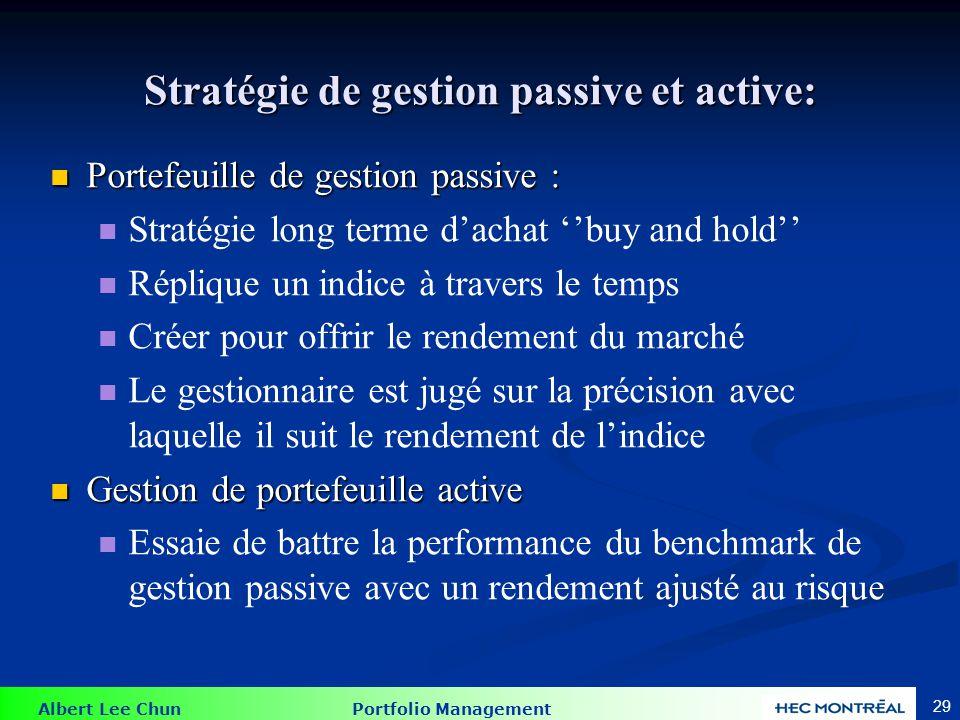 Albert Lee Chun Portfolio Management 29 Stratégie de gestion passive et active: Portefeuille de gestion passive : Portefeuille de gestion passive : St