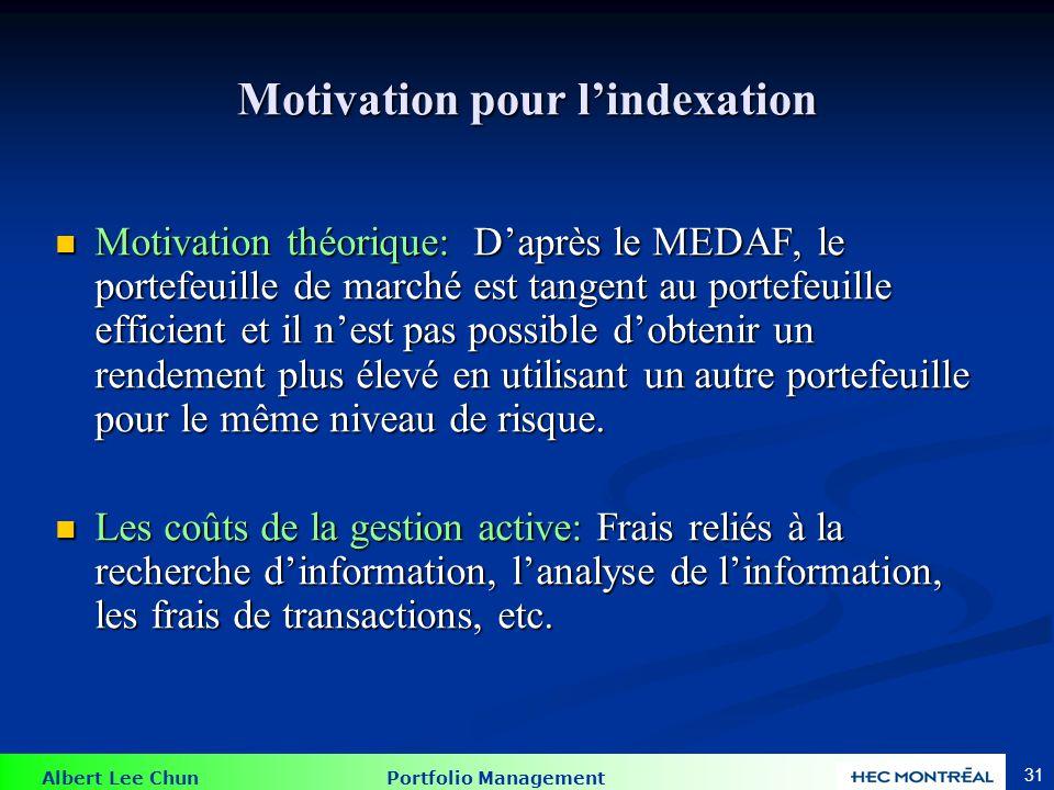 Albert Lee Chun Portfolio Management 31 Motivation pour lindexation Motivation théorique: Daprès le MEDAF, le portefeuille de marché est tangent au po