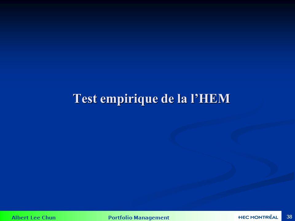 Albert Lee Chun Portfolio Management 38 Test empirique de la lHEM
