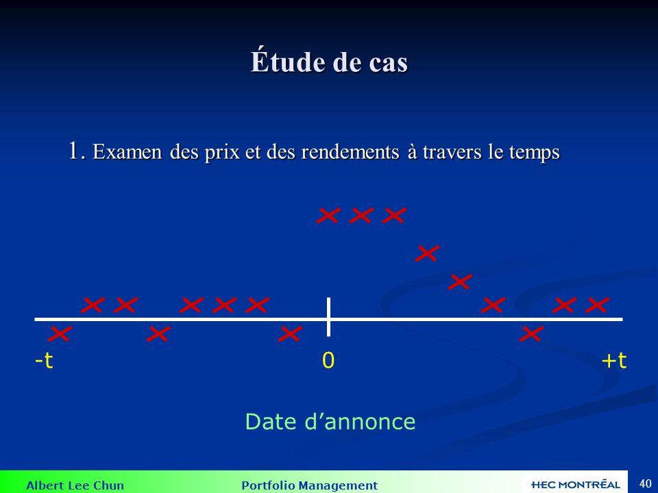 Albert Lee Chun Portfolio Management 40 Étude de cas 1. Examen des prix et des rendements à travers le temps 0+t-t Date dannonce