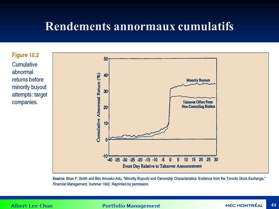 Albert Lee Chun Portfolio Management 44 Rendements annormaux cumulatifs
