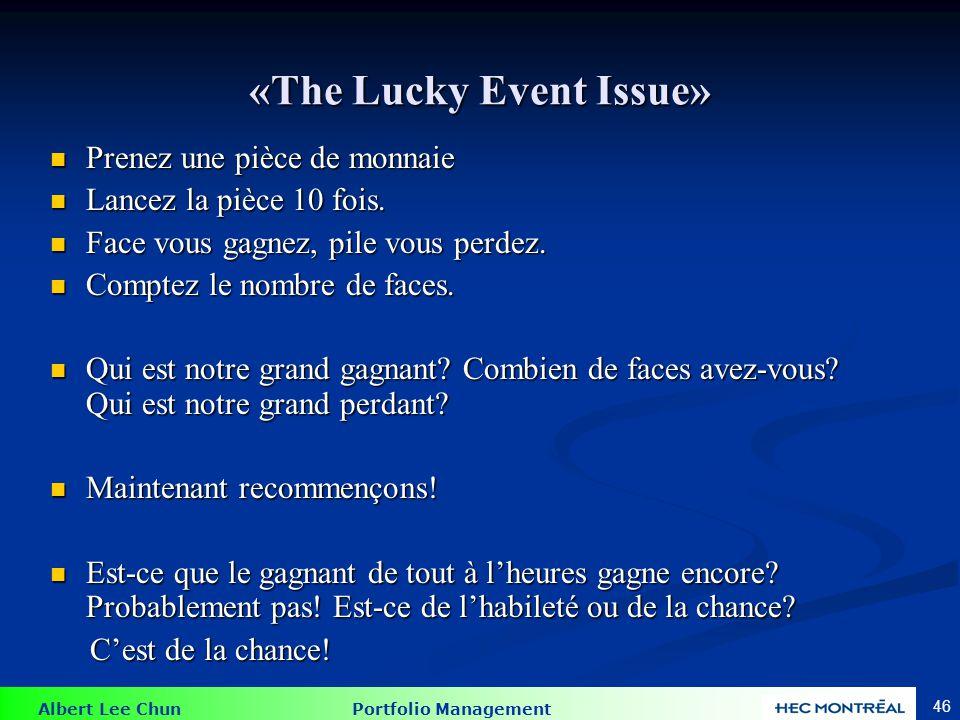 Albert Lee Chun Portfolio Management 46 «The Lucky Event Issue» Prenez une pièce de monnaie Prenez une pièce de monnaie Lancez la pièce 10 fois. Lance