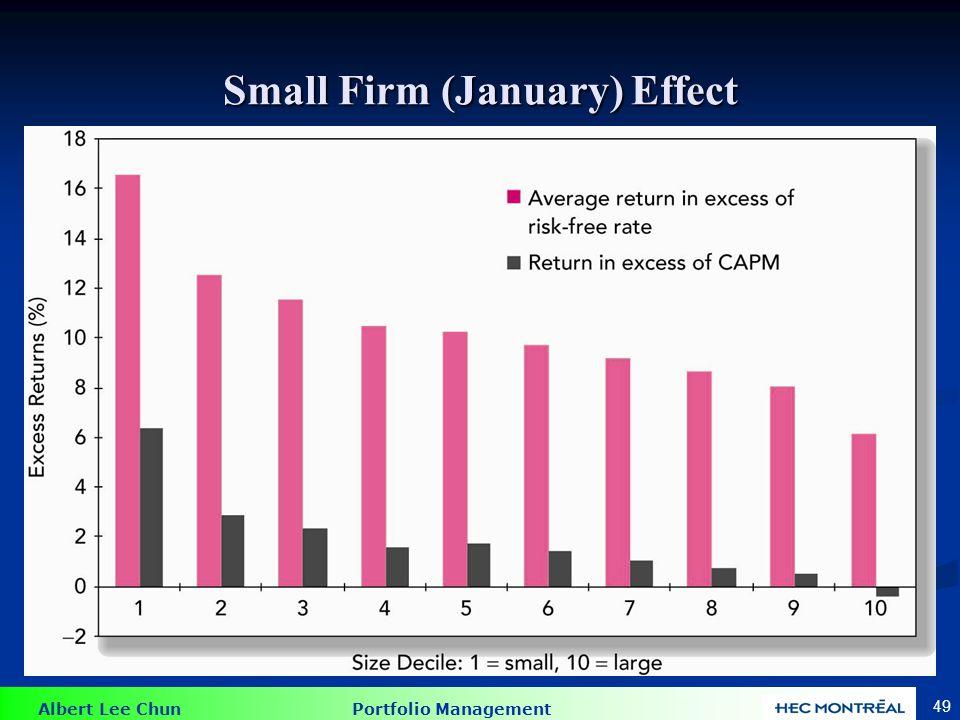 Albert Lee Chun Portfolio Management 49 Small Firm (January) Effect