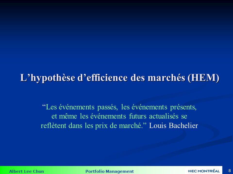 Albert Lee Chun Portfolio Management 8 Lhypothèse defficience des marchés (HEM) Les événements passés, les événements présents, et même les événements