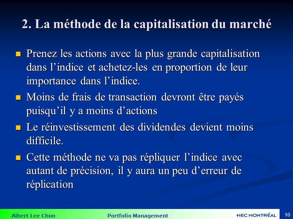 Albert Lee Chun Portfolio Management 10 2. La méthode de la capitalisation du marché Prenez les actions avec la plus grande capitalisation dans lindic