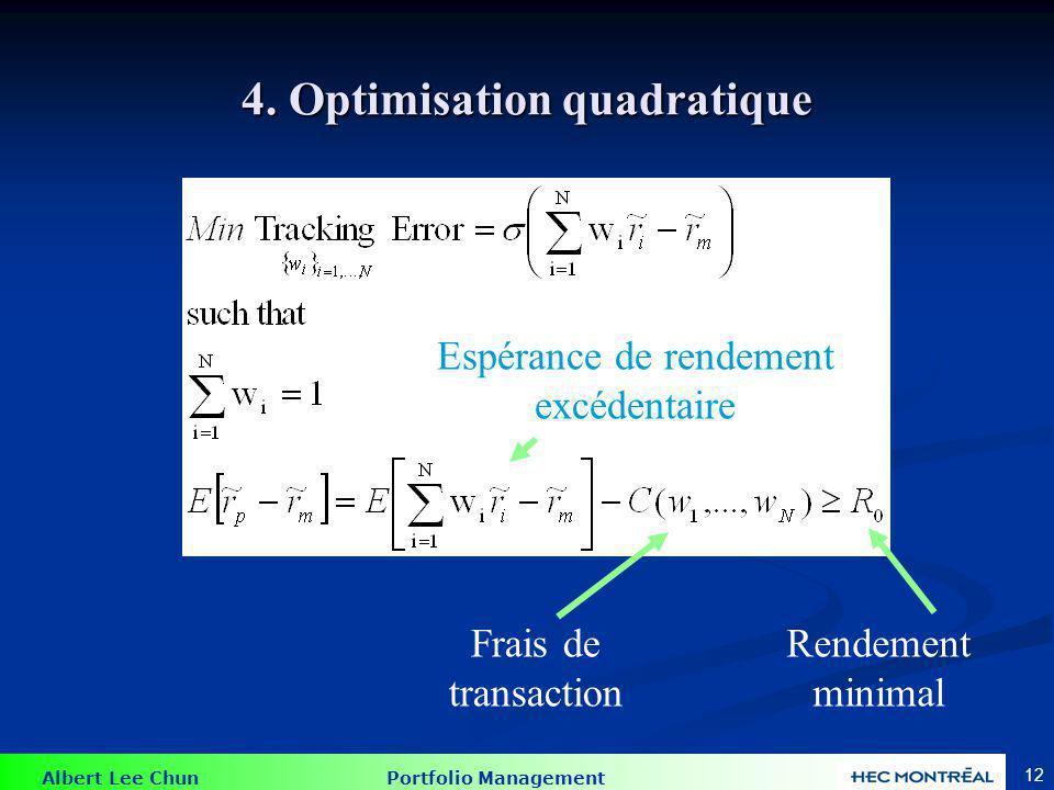 Albert Lee Chun Portfolio Management 12 4. Optimisation quadratique Frais de transaction Rendement minimal Espérance de rendement excédentaire