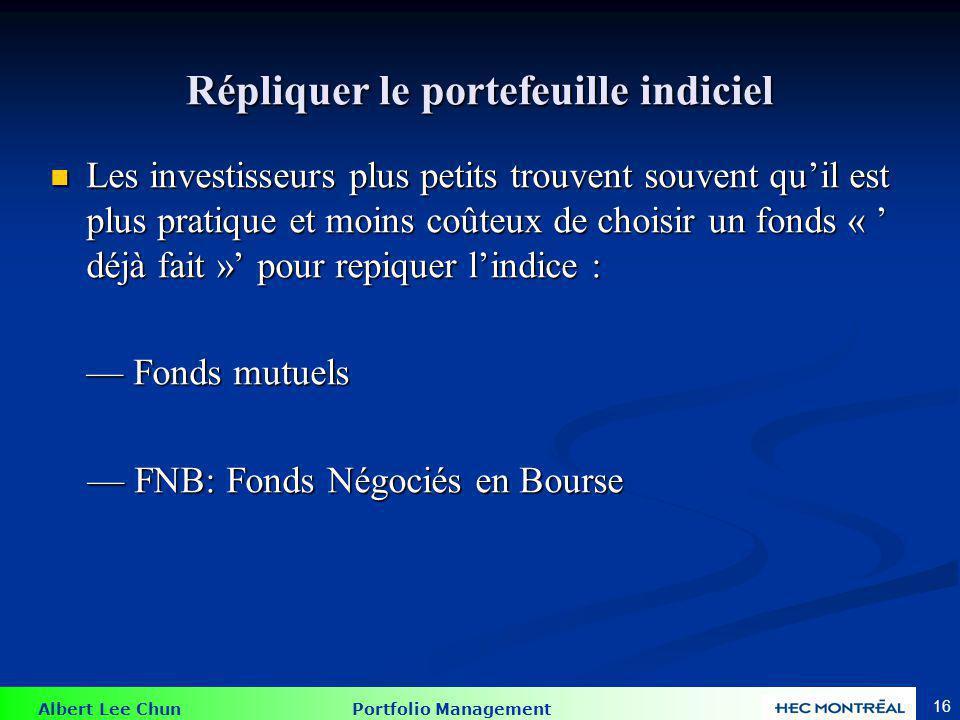 Albert Lee Chun Portfolio Management 16 Répliquer le portefeuille indiciel Les investisseurs plus petits trouvent souvent quil est plus pratique et mo