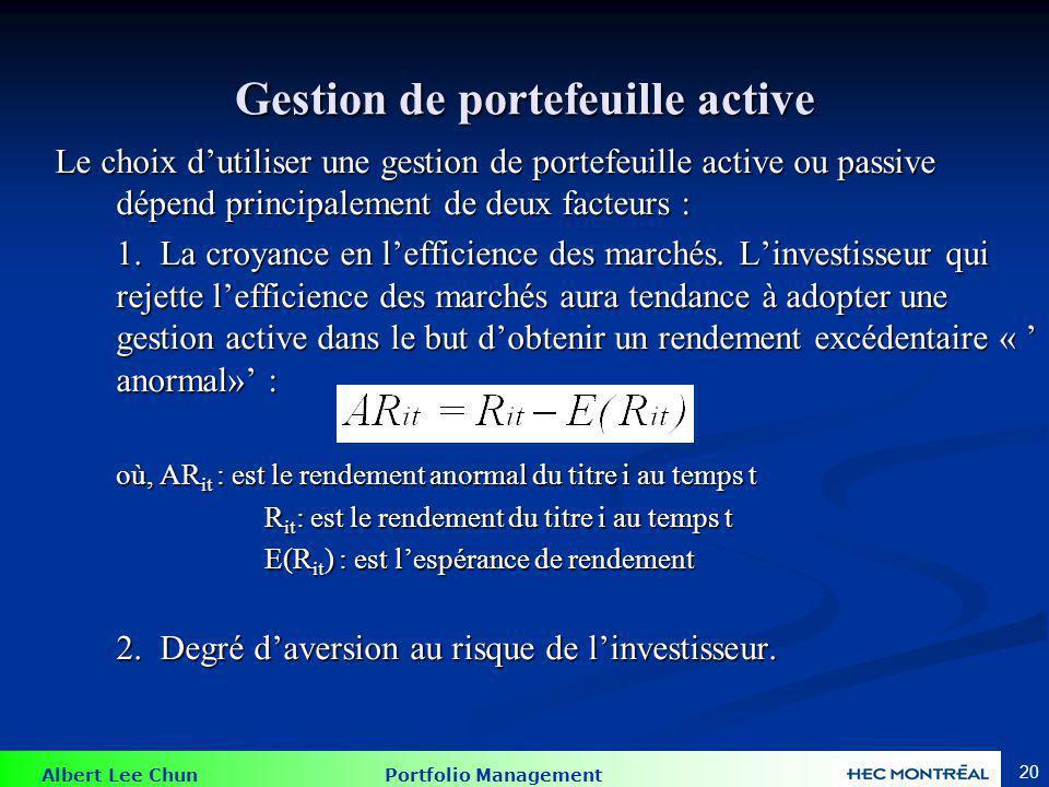 Albert Lee Chun Portfolio Management 20 Gestion de portefeuille active Le choix dutiliser une gestion de portefeuille active ou passive dépend princip