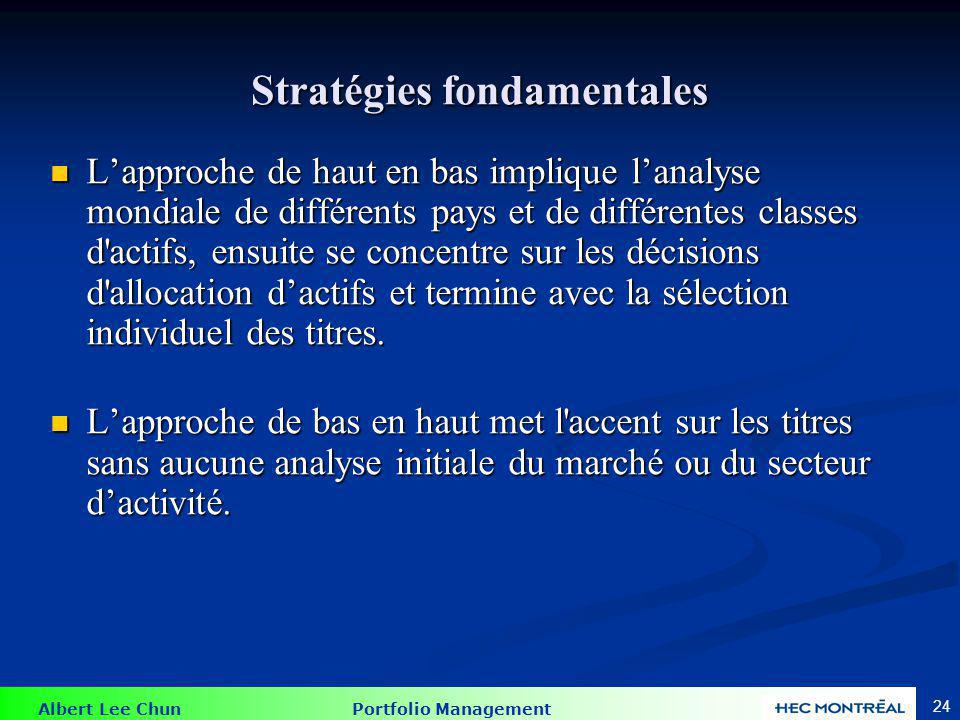 Albert Lee Chun Portfolio Management 24 Stratégies fondamentales Lapproche de haut en bas implique lanalyse mondiale de différents pays et de différen