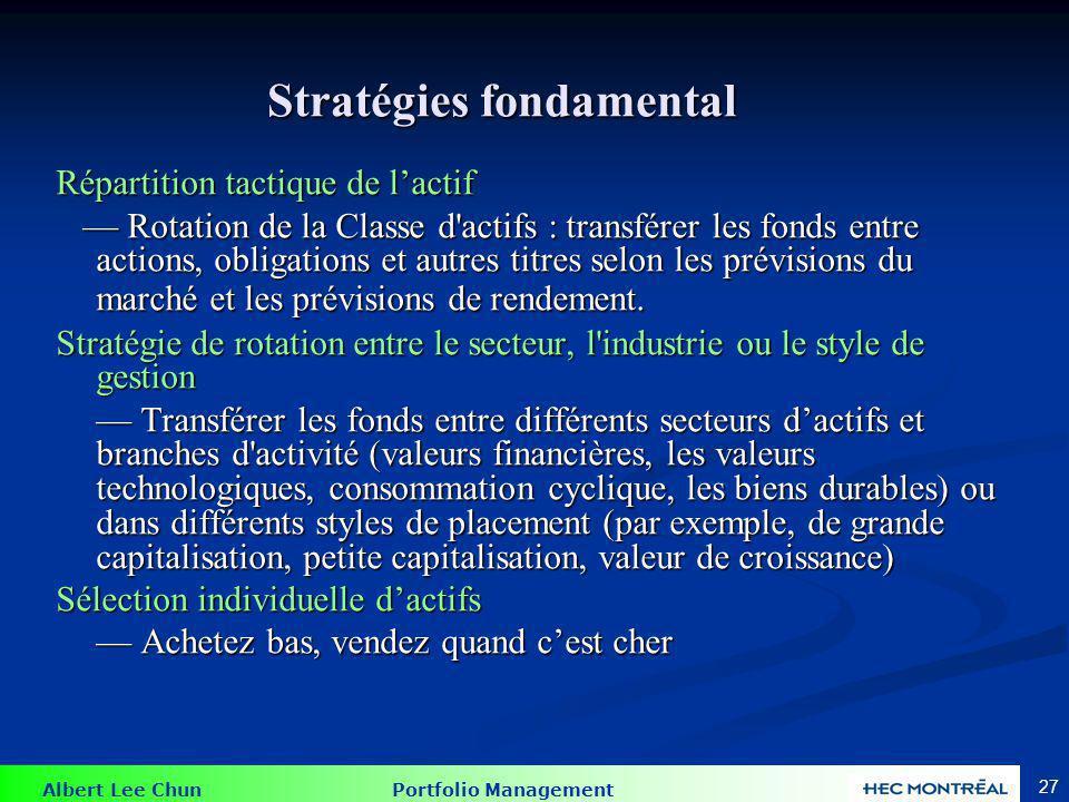 Albert Lee Chun Portfolio Management 27 Stratégies fondamental Répartition tactique de lactif Rotation de la Classe d'actifs : transférer les fonds en