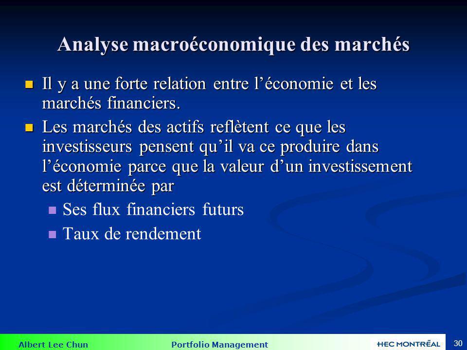 Albert Lee Chun Portfolio Management 30 Il y a une forte relation entre léconomie et les marchés financiers. Il y a une forte relation entre léconomie