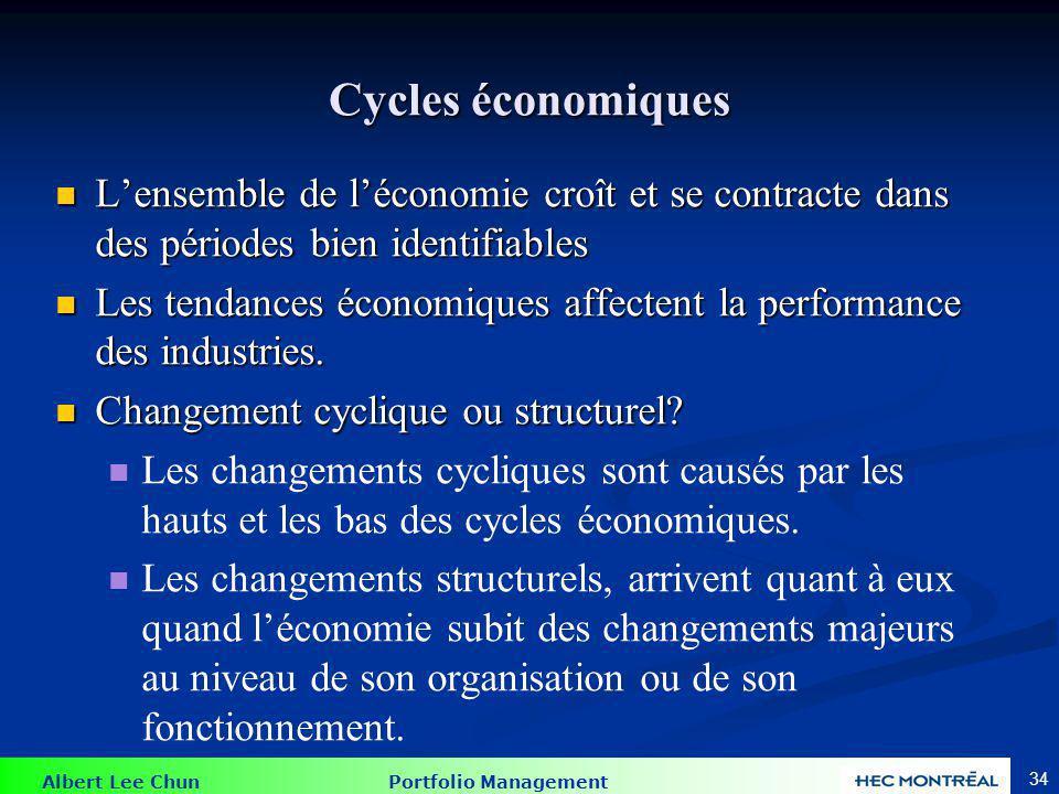 Albert Lee Chun Portfolio Management 34 Cycles économiques Lensemble de léconomie croît et se contracte dans des périodes bien identifiables Lensemble