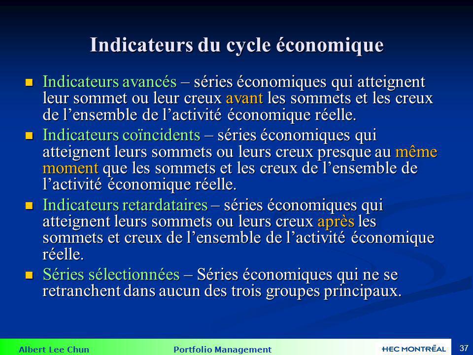 Albert Lee Chun Portfolio Management 37 Indicateurs du cycle économique Indicateurs avancés – séries économiques qui atteignent leur sommet ou leur cr