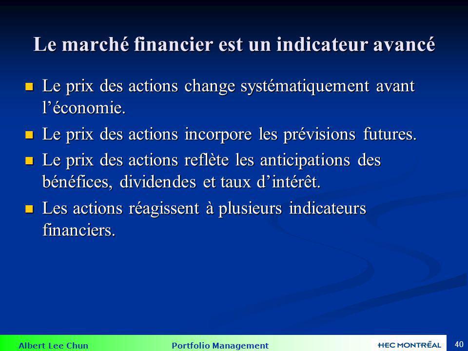 Albert Lee Chun Portfolio Management 40 Le marché financier est un indicateur avancé Le prix des actions change systématiquement avant léconomie. Le p