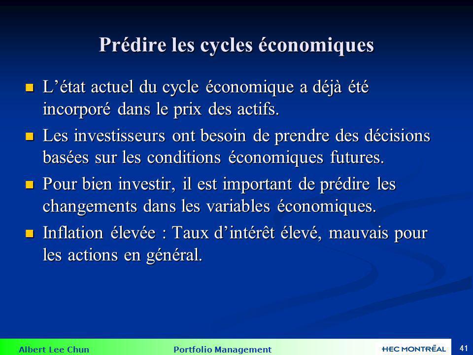Albert Lee Chun Portfolio Management 41 Prédire les cycles économiques Létat actuel du cycle économique a déjà été incorporé dans le prix des actifs.