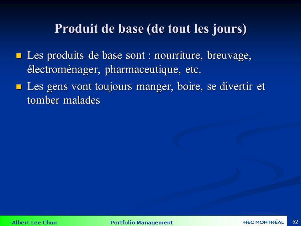Albert Lee Chun Portfolio Management 52 Produit de base (de tout les jours) Les produits de base sont : nourriture, breuvage, électroménager, pharmace
