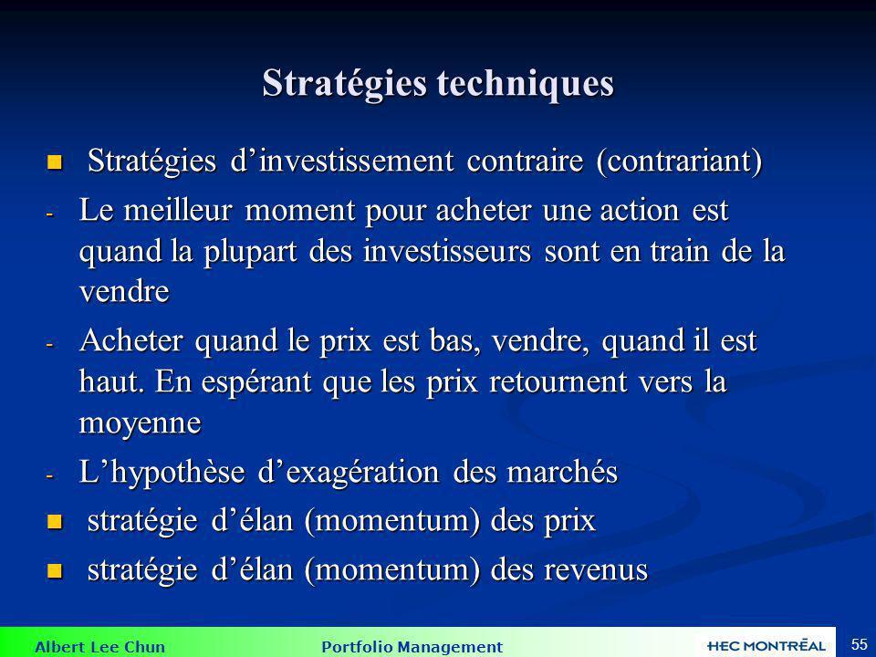 Albert Lee Chun Portfolio Management 55 Stratégies techniques Stratégies dinvestissement contraire (contrariant) Stratégies dinvestissement contraire