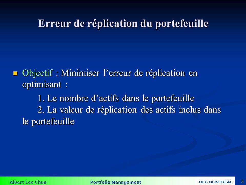 Albert Lee Chun Portfolio Management 5 Erreur de réplication du portefeuille Objectif : Minimiser lerreur de réplication en optimisant : Objectif : Mi