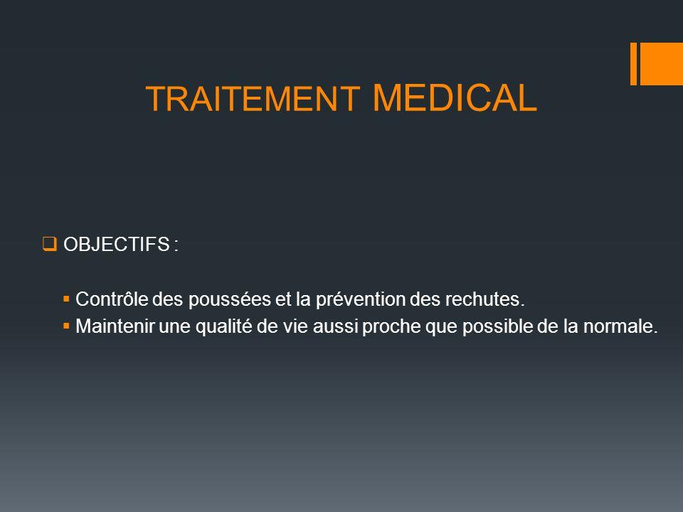 TRAITEMENT MEDICAL OBJECTIFS : Contrôle des poussées et la prévention des rechutes. Maintenir une qualité de vie aussi proche que possible de la norma