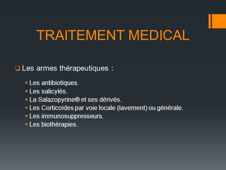 Les armes thérapeutiques : Les antibiotiques. Les salicylés. La Salazopyrine® et ses dérivés. Les Corticoïdes par voie locale (lavement) ou générale.