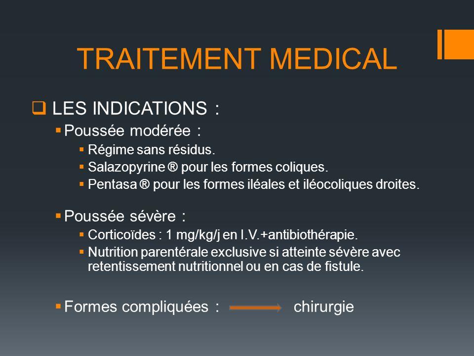LES INDICATIONS : Poussée modérée : Régime sans résidus. Salazopyrine ® pour les formes coliques. Pentasa ® pour les formes iléales et iléocoliques dr