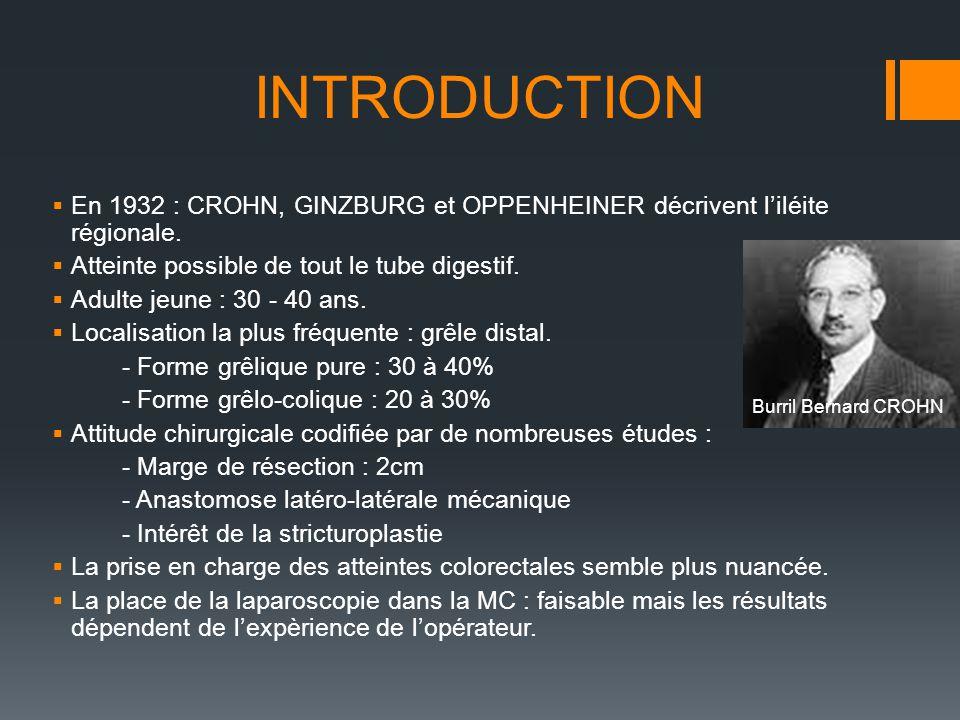INTRODUCTION Burril Bernard CROHN En 1932 : CROHN, GINZBURG et OPPENHEINER décrivent liléite régionale. Atteinte possible de tout le tube digestif. Ad